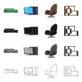 Διανυσματική απεικόνιση του λογότυπου επίπλων και εργασίας Συλλογή του διανυσματικού εικονιδίου επίπλων και σπιτιών για το απόθεμ απεικόνιση αποθεμάτων