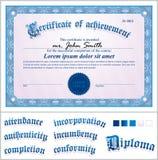 Διανυσματική απεικόνιση του μπλε πιστοποιητικού Πρότυπο Στοκ Φωτογραφίες