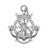 Διανυσματική απεικόνιση του ναυτικών τιμονιού και της άγκυρας Στοκ Εικόνες