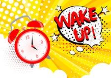 Διανυσματική απεικόνιση του ξυπνητηριού που χτυπά, ξυπνήστε κείμενο στο υπόβαθρο Φωτεινή έννοια τέχνης κινούμενων σχεδίων λαϊκή σ διανυσματική απεικόνιση