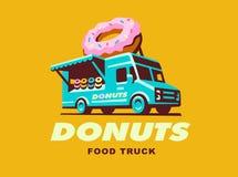 Διανυσματική απεικόνιση του λογότυπου Donuts φορτηγών τροφίμων Στοκ Φωτογραφίες