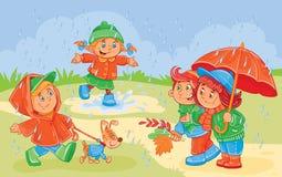 Διανυσματική απεικόνιση του παιχνιδιού μικρών παιδιών Στοκ εικόνες με δικαίωμα ελεύθερης χρήσης