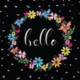 Διανυσματική απεικόνιση του πλαισίου λουλουδιών Σχέδιο άνοιξης ή καλοκαιριού για την πρόσκληση και τις ευχετήριες κάρτες Στοκ Φωτογραφία