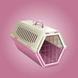 Διανυσματική απεικόνιση του ρείθρου κατοικίδιων ζώων, ρόδινος μεταφορέας γατών διανυσματική απεικόνιση