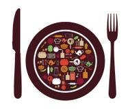 Σημάδι εστιατορίων - μαχαίρι, κουτάλι, δίκρανο και πιάτο Στοκ Εικόνες
