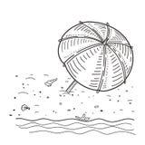 Διανυσματική απεικόνιση του σκίτσου θερινών παραλιών Στοκ φωτογραφία με δικαίωμα ελεύθερης χρήσης