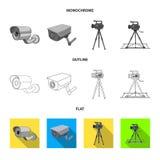 Διανυσματική απεικόνιση του συμβόλου camcorder και καμερών Συλλογή του συμβόλου αποθεμάτων camcorder και ταμπλό για τον Ιστό ελεύθερη απεικόνιση δικαιώματος