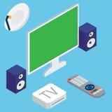 Διανυσματική απεικόνιση του συστήματος εγχώριων θεάτρων με τη TV ελεύθερη απεικόνιση δικαιώματος