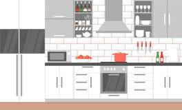 Διανυσματική απεικόνιση του σύγχρονου εσωτερικού κουζινών με τη σόμπα, το ντουλάπι, τα πιάτα και το ψυγείο έπιπλα συσκευών κουζιν διανυσματική απεικόνιση