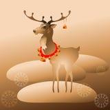Διανυσματική απεικόνιση του ταράνδου Χριστουγέννων με τα κουδούνια Στοκ Φωτογραφίες