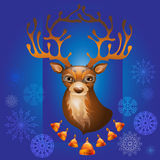Διανυσματική απεικόνιση του ταράνδου Χριστουγέννων με τα κουδούνια Στοκ φωτογραφία με δικαίωμα ελεύθερης χρήσης
