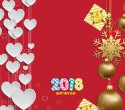 Διανυσματική απεικόνιση του υποβάθρου καρδιών Χριστουγέννων 2018 με το χρυσό σφαιρών Χριστουγέννων διανυσματική απεικόνιση