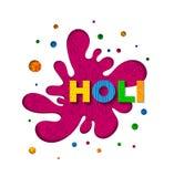 Διανυσματική απεικόνιση του φεστιβάλ Holi με το φωτεινό, περίκομψο λεκέ και τις ζωηρόχρωμες επιστολές διανυσματική απεικόνιση