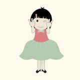 Διανυσματική απεικόνιση του χαριτωμένου κοριτσιού κινούμενων σχεδίων Στοκ Εικόνες