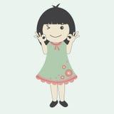Διανυσματική απεικόνιση του χαριτωμένου κοριτσιού κινούμενων σχεδίων στο πράσινο φόρεμα Στοκ Εικόνες