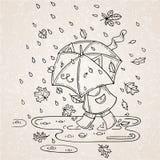 Διανυσματική απεικόνιση του χαριτωμένου παιδιού με την ομπρέλα στη περίοδο βροχών Στοκ Εικόνες