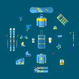 Διανυσματική απεικόνιση του χειμερινού αθλητισμού Σύνολο εξοπλισμού χειμερινού αθλητισμού Ακραίο σύνολο αθλητικού εξοπλισμού Απομ Στοκ Φωτογραφία