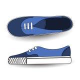 Διανυσματική απεικόνιση του χεριού που σύρεται, σύροντας, μπλε αθλητικά παπούτσια για την αντισφαίριση, εκπαιδευτές, πάνινα παπού απεικόνιση αποθεμάτων