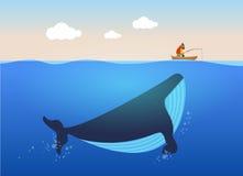 Διανυσματική απεικόνιση του ψαρά και της τεράστιας φάλαινας κάτω από το νερό Δημιουργική έννοια αφισών Στοκ Εικόνες