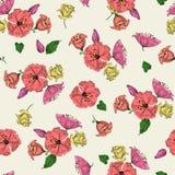 Διανυσματική απεικόνιση του όμορφου ζωηρόχρωμου άνευ ραφής σχεδίου λουλουδιών Στοκ εικόνα με δικαίωμα ελεύθερης χρήσης