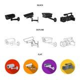 Διανυσματική απεικόνιση του camcorder και του σημαδιού καμερών Συλλογή του camcorder και του διανυσματικού εικονιδίου ταμπλό για  απεικόνιση αποθεμάτων