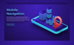 Διανυσματική απεικόνιση του smartphone με την κινητή ναυσιπλοΐα app στην οθόνη Χάρτης διαδρομών με τα σύμβολα που παρουσιάζουν θέ απεικόνιση αποθεμάτων