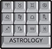 Zodiac σύνολο κουμπιών πληκτρολογίων σημαδιών αστρολογίας Στοκ Εικόνες