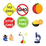 Διανυσματική απεικόνιση τροποποιημένος και γενετικά λογότυπο Σύνολο τροποποιημένου και συμβόλου αποθεμάτων επιστήμης για τον Ιστό ελεύθερη απεικόνιση δικαιώματος