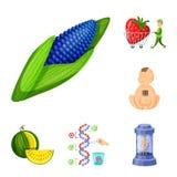 Διανυσματική απεικόνιση τροποποιημένος και γενετικά λογότυπο Σύνολο τροποποιημένου και διανυσματικού εικονιδίου επιστήμης για το  διανυσματική απεικόνιση