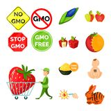 Διανυσματική απεικόνιση τροποποιημένος και γενετικά σημάδι Συλλογή της τροποποιημένης και διανυσματικής απεικόνισης αποθεμάτων επ ελεύθερη απεικόνιση δικαιώματος
