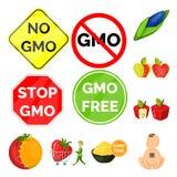 Διανυσματική απεικόνιση τροποποιημένος και γενετικά σημάδι Σύνολο τροποποιημένης και διανυσματικής απεικόνισης αποθεμάτων επιστήμ ελεύθερη απεικόνιση δικαιώματος
