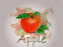 Διανυσματική απεικόνιση τροφίμων watercolor της Apple Στοκ Εικόνες