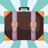 Διανυσματική απεικόνιση τσαντών χαρτοφυλάκων δέρματος λαβών διακοπών αποσκευών αποσκευών μόδας τουρισμού ταξιδιού διανυσματική απεικόνιση