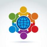 Διανυσματική απεικόνιση των ανθρώπων που στέκονται γύρω από ένα σημάδι σφαιρών, mana διανυσματική απεικόνιση