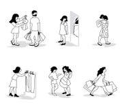 Διανυσματική απεικόνιση των ανθρώπων στο bei καταστημάτων ιματισμού δοκιμή-επάνω στο επίπεδο σχέδιο Ελεύθερη απεικόνιση δικαιώματος