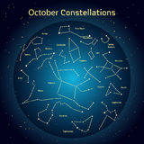 Διανυσματική απεικόνιση των αστερισμών ο νυχτερινός ουρανός τον Οκτώβριο Καμμένος ένας σκούρο μπλε κύκλος με τα αστέρια στο διάστ Στοκ φωτογραφίες με δικαίωμα ελεύθερης χρήσης