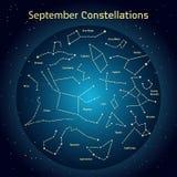 Διανυσματική απεικόνιση των αστερισμών ο νυχτερινός ουρανός το Σεπτέμβριο Καμμένος ένας σκούρο μπλε κύκλος με τα αστέρια στο διάσ Στοκ Εικόνα