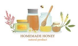 Διανυσματική απεικόνιση των βάζων μελιού με τα άγριες λουλούδια και τη μέλισσα ελεύθερη απεικόνιση δικαιώματος