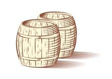 Διανυσματική απεικόνιση των βαρελιών μπύρας ή κρασιού διανυσματική απεικόνιση