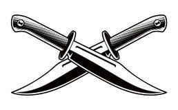 Διανυσματική απεικόνιση των διασχισμένων μαχαιριών στο άσπρο υπόβαθρο ελεύθερη απεικόνιση δικαιώματος