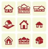 Εικονίδια σπιτιών καθορισμένα. Ακίνητη περιουσία. Στοκ εικόνα με δικαίωμα ελεύθερης χρήσης