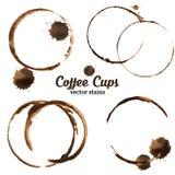 Διανυσματική απεικόνιση των λεκέδων φλυτζανιών καφέ Στοκ Εικόνα