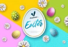 Διανυσματική απεικόνιση των ευτυχών διακοπών Πάσχας με το χρωματισμένα αυγό και το λουλούδι στο καθαρό υπόβαθρο Διεθνής εορτασμός Στοκ Φωτογραφίες