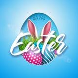 Διανυσματική απεικόνιση των ευτυχών διακοπών Πάσχας με το χρωματισμένο αυγό, τα αυτιά κουνελιών και το λουλούδι στο λαμπρό μπλε υ Στοκ Εικόνες