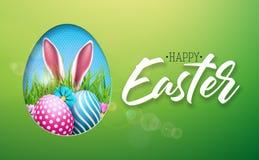 Διανυσματική απεικόνιση των ευτυχών διακοπών Πάσχας με το χρωματισμένο αυγό, τα αυτιά κουνελιών και το λουλούδι στο λαμπρό πράσιν Στοκ Εικόνες