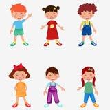 Διανυσματική απεικόνιση των ευτυχών κινούμενων σχεδίων παιδιών Στοκ Εικόνες