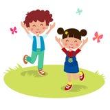 Διανυσματική απεικόνιση των ευτυχών κινούμενων σχεδίων παιδιών Στοκ εικόνα με δικαίωμα ελεύθερης χρήσης