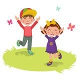 Διανυσματική απεικόνιση των ευτυχών κινούμενων σχεδίων 2 παιδιών Στοκ Εικόνες