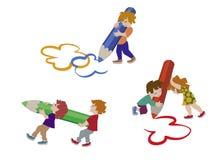 Διανυσματική απεικόνιση των ευτυχών παιδιών που σύρουν στο επίπεδο σχέδιο Διανυσματική απεικόνιση