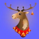Διανυσματική απεικόνιση των ελαφιών Χριστουγέννων με τα κουδούνια Στοκ Φωτογραφία